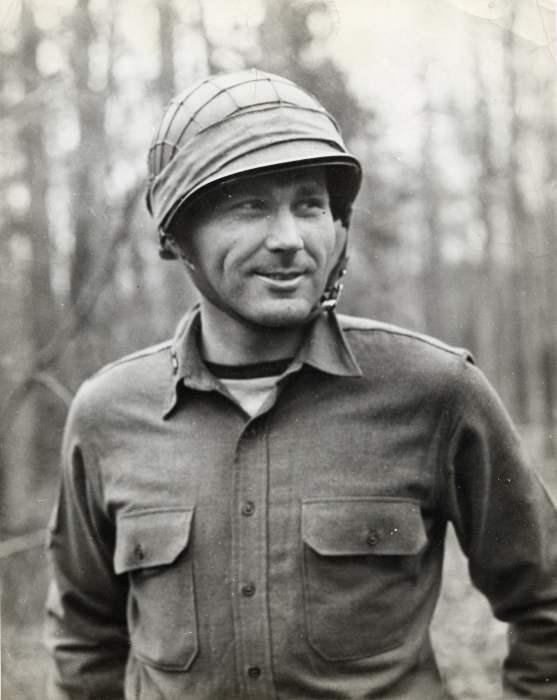 Ralph Roberts in Burma, in helmet