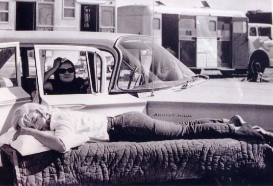 "Marilyn Monroe and Paula Strasberg on the set of ""The Misfits"""