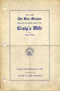 Blue Masque Production of Craig's Wife - Program